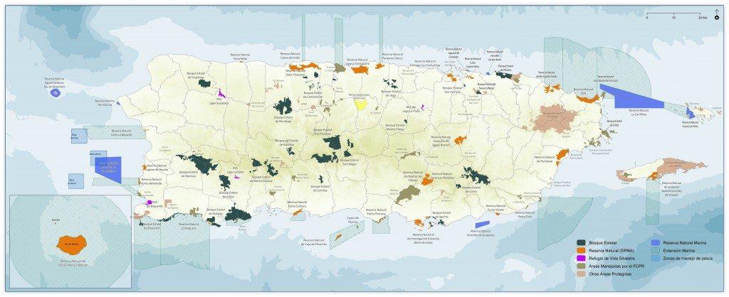 Mapa de áreas naturales protegidas en Puerto Rico