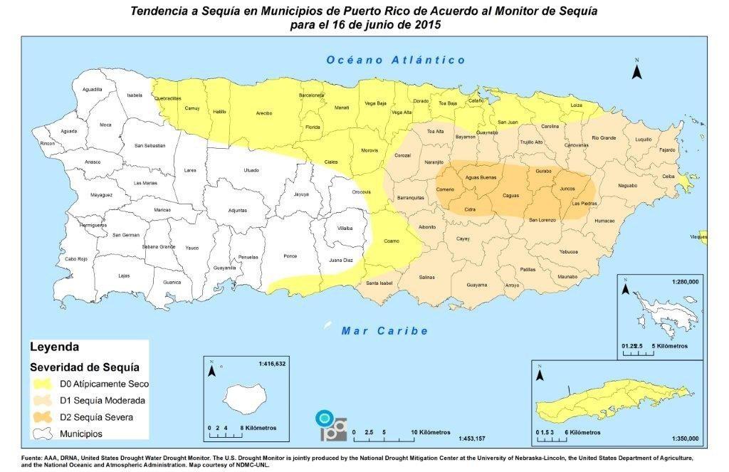 Mapa de municipios en sequía.