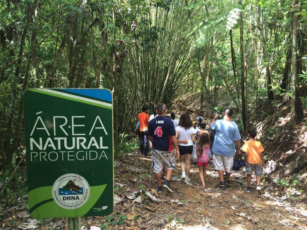 Varias personas caminando por el Bosque Estatal de Monte Choca, en Corozal. (foto suministrada)