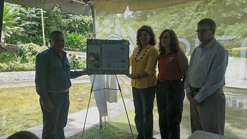El biólogo retirado Fernando Núñez García recibe un reconocimiento por su labor en pro de las cotorras como exempleado y como actual voluntario del programa de recuperación de esa especie en peligro de extinción. Hacen el reconocimiento la secretaria del Departamento de Recursos Naturales y Ambientales (DRNA), Carmen R. Guerrero Pérez (a la izquierda); la directora de la Región Sureste del Servicio federal de Pesca y Vida Silvestre (USFWS, por sus siglas en inglés), Cynthia K. Hohner (al centro), y el dasónomo de la Región Sureste del Servicio Forestal federal (USFS), Tony Tooke (a la derecha).